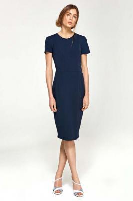 Ołówkowa Sukienka z Krótkim Rękawem- Granatowa