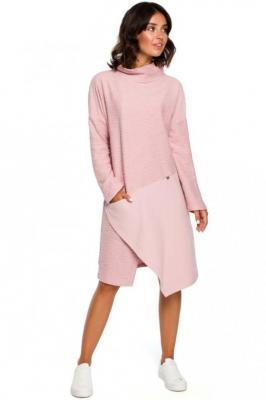 Pudrowa Asymetryczna Sukienka z Golfem