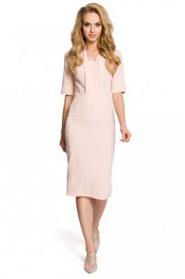 Pudrowa Sukienka Ołówkowa Midi z Efektownym Dekoltem