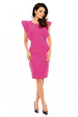 Różowa Koktajlowa Dopasowana Sukienka z Falbankami
