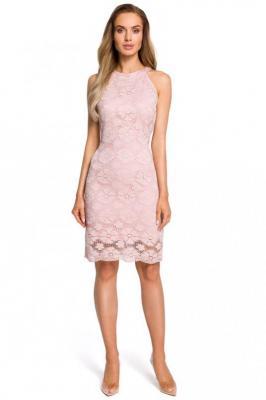 Różowa Koronkowa Dopasowana Sukienka z Holterem