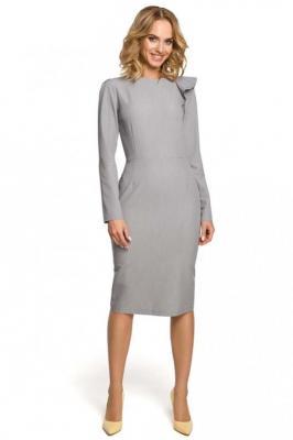 Szara Sukienka Elegancka Ołówkowa z Falbankami na Ramieniu