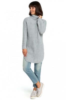 Szary Wygodny Długi Sweter z Golfem