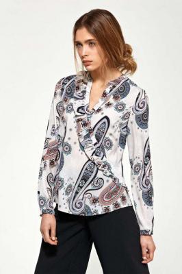 Wzorzysta Koszulowa Bluzka z Asymetryczną Falbanką