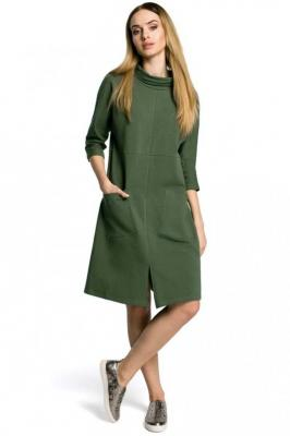 Zielona Sukienka Trapezowa przed Kolano w Sportowym Stylu z Kieszeniami