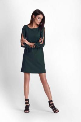 Zielona Trapezowa Sukienka z Rozciętymi Rękawami