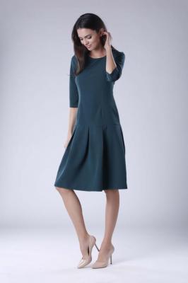 Zielona Wizytowa Sukienka z Obniżonym Stanem