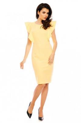 Żółta Koktajlowa Dopasowana Sukienka z Falbankami