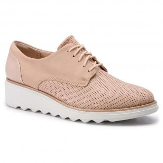 Oxfordy CLARKS - Sharon Crystal 261406424 Blush Nubuck