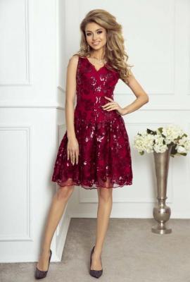 Rozkloszowana Bordowa Sukienka Cekinowa