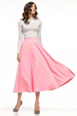 Różowa Rozkloszowana Midi Spódnica z Metalowym Zamkiem