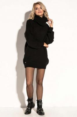 Czarna Swetrowa  Ciepła Sukienka  z Wysokim Golfem.