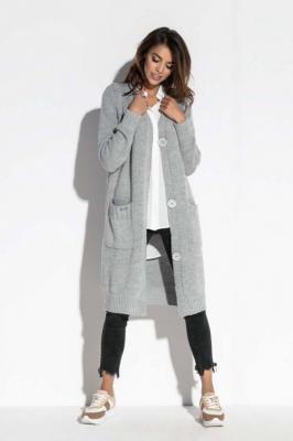 Szary Długi Sweter Zapinany na Guziki