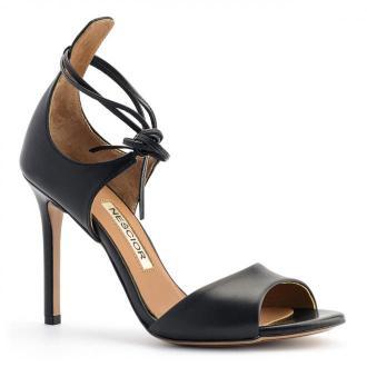 Czarne skórzane szpilki sandały wiązane wokół kostki 103L