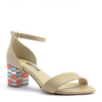 Beżowe skórzane sandały na mozaikowym obcasie 23S