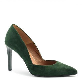 Zielone zamszowe szpilki 92Y