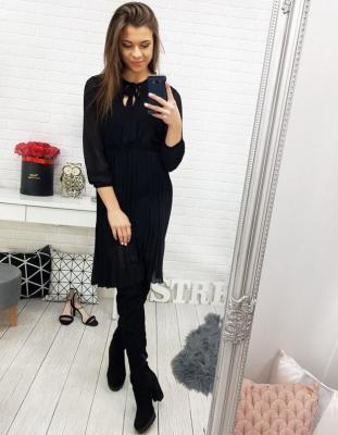 Sukienka YOKO plisowana czarna EY0729