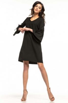 Czarna Wizytowa Luźna Sukienka z Kloszowanym Rękawem