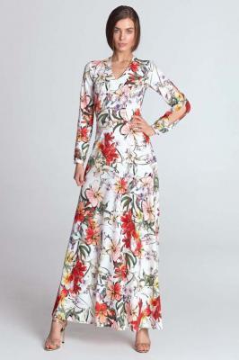 Ecru Maxi Sukienka w Kwiaty z Wycięciem na Rękawach