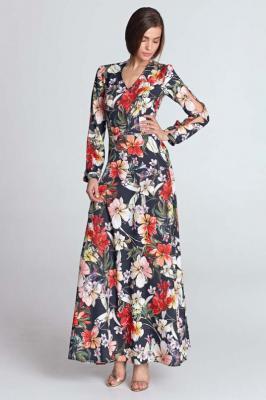 Granatowa Maxi Sukienka w Kwiaty z Wycięciem na Rękawach