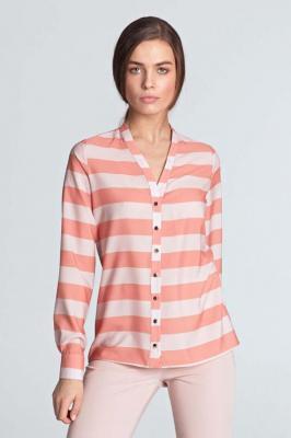 Pomarańczowa  Koszulowa Bluzka z Długim Rękawem Zapinana na Ozdobne Napki
