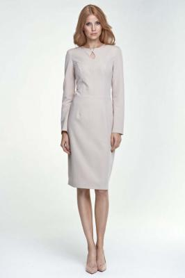 Beżowa Sukienka Ołówkowa Midi z Łezką przy Dekolcie
