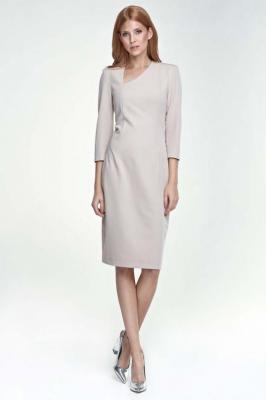 Beżowa Sukienka z Asymetrycznym Dekoltem