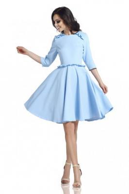 Błękitna Klasyczna Rozkloszowana Sukienka z Falbankami