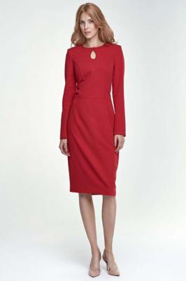 Sukienka Ołówkowa Midi z Łezką przy Dekolcie - Czerwona