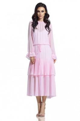 Różowa Długa Sukienka w Stylu Boho z Plisowanymi Falbankami