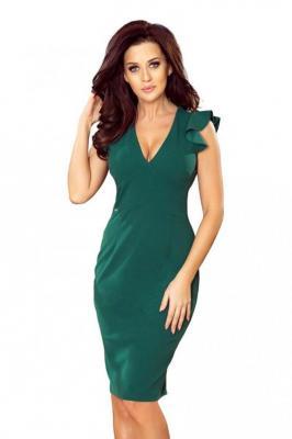 Zielona Ołówkowa Sukienka z Dekoltem V z Falbankami