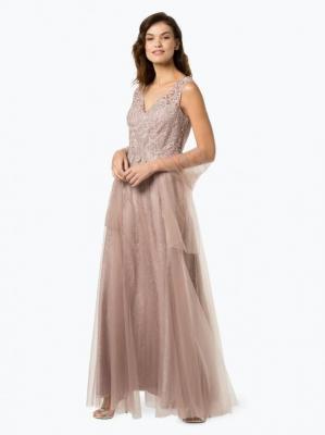 Luxuar Fashion - Damska sukienka wieczorowa z etolą, beżowy