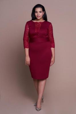 MEGAN WINE seksowna sukienka plus size z koronką : Rozmiar - 60/62