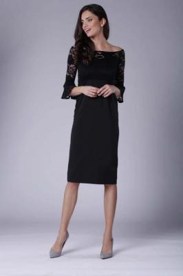Czarna Wizytowa Dopasowana Sukienka z Koronką