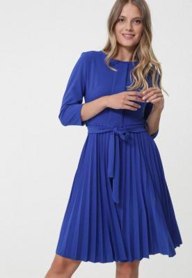 Ciemnoniebieska Sukienka Pleated Belted