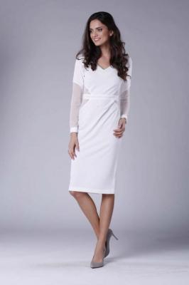 Ecru Elegancka Ołówkowa Sukienka z Prześwitującymi Detalami