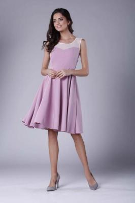 Jasnoróżowa Rozkloszowana Sukienka Midi z Prześwitującym Karczkiem