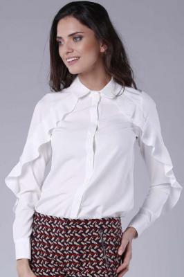 Koszulowa Biała Bluzka z Falbanką