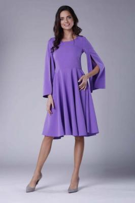 Fioletowa Sukienka Midi z  Wirującym Dołem i Rozciętym Rękawem