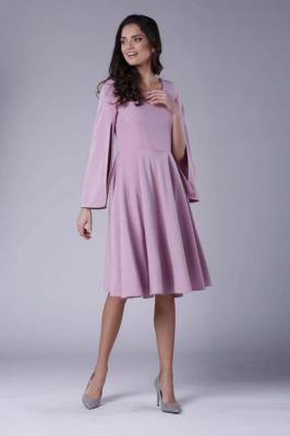 Różowa Sukienka Midi z  Wirującym Dołem i Rozciętym Rękawem
