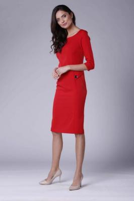 Czerwona Stylowa Sukienka Ołówkowa z Ozdobnymi Guzikami