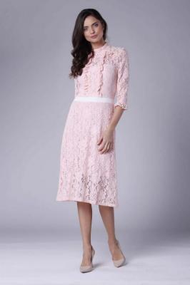 Różowa Ecru Lekko Rozkloszowana Sukienka Koronkowa ze Stójką