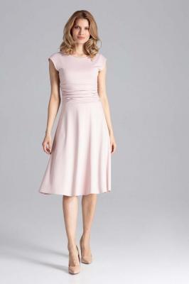 Elegancka Różowa Rozkloszowana Sukienka z Zaznaczoną Talią