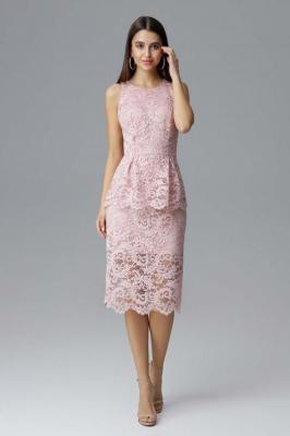 Różowa Koronkowa Dopasowana Sukienka z Baskinką