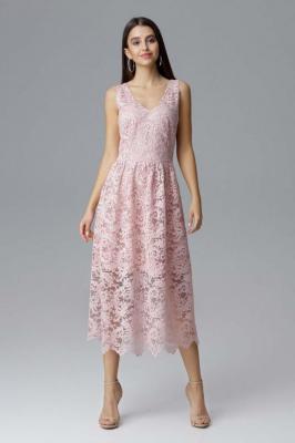 Różowa Rozkloszowana Sukienka Koronkowa na Szerokich Ramiączkach