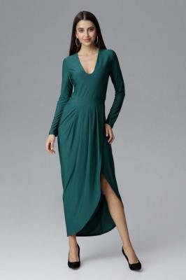 Zielona Wizytowa Długa Sukienka z Asymetrycznym Rozcięciem