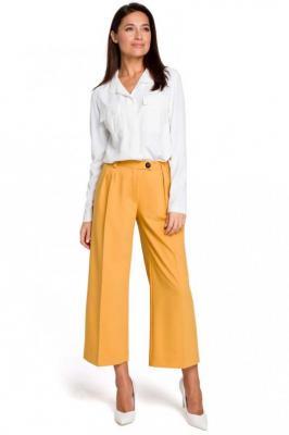 Żółte Eleganckie Spodnie Kuloty w Kant