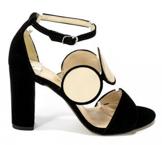 Sandały Cortesini 02021/1 Skóra Czarny/Zamsz