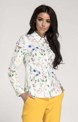 Biała Taliowana Koszula Damska w Kwiatki