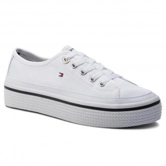 Tenisówki TOMMY HILFIGER - Corporate Flatform Sneaker FW0FW04259 White 100
